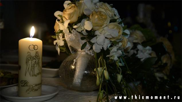 Букет и свеча